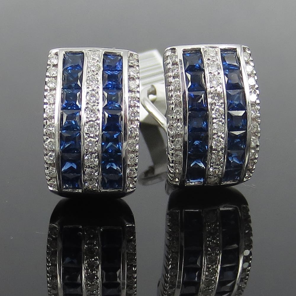 《3ct ダイヤモンド&サファイヤ》K18クリップ・ピアス_画像1