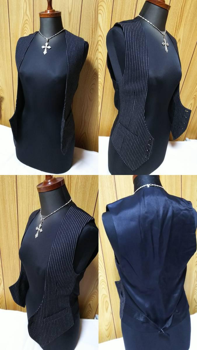 国内正規 美 Dior Hommeディオールオム Uカットドレスジレ黒 ブラック×ストライプベスト 最小38 XXS 6H エディ期 ジャケット以上の存在感!_国内入荷数着の超希少モデル!しかも最小38P