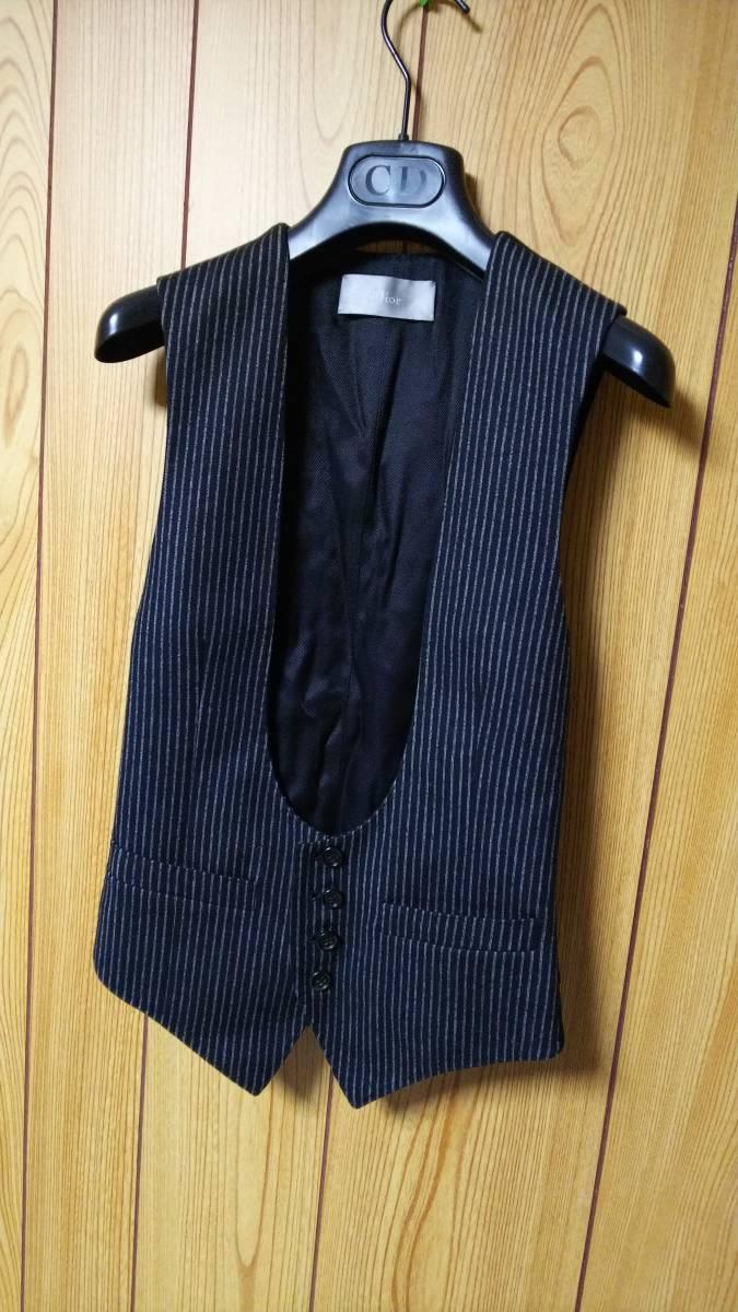 国内正規 美 Dior Hommeディオールオム Uカットドレスジレ黒 ブラック×ストライプベスト 最小38 XXS 6H エディ期 ジャケット以上の存在感!_ディオールオム 希少!Uカットドレスジレ