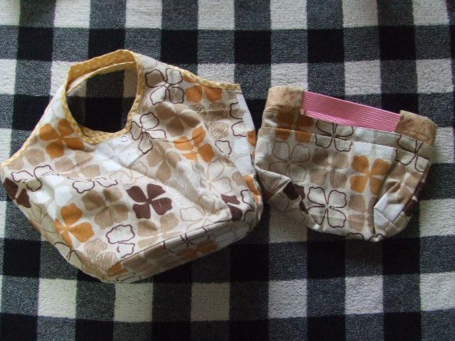 新品 ハンドメイドバッグ トートバッグと小物入れポーチ 手提げかばん 化粧ポーチ2個セット_画像1