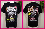 STUSSYステューシー 新品!半袖TシャツML 「黒」落書き・手書き風のグラフィティプリントがカッコいい! しかも多色・前後別構図で T4269