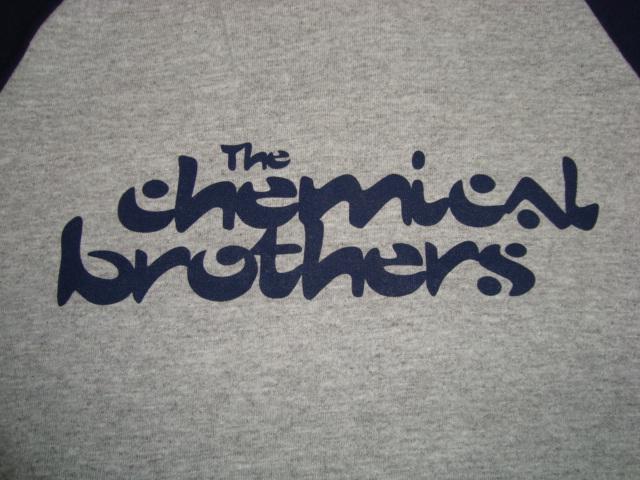 アメリカ製 90-00'S ケミカルブラザーズ The chemical brothers ラグラン ベースボールTシャツ 灰x紺 L