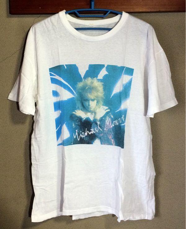 レア★Michael Monroe★マイケルモンロー★バンドTシャツ Lサイズ 白★Not Fakin' It TOUR 89年90年★ロックT HANOI ROCKS★ソロ 来日