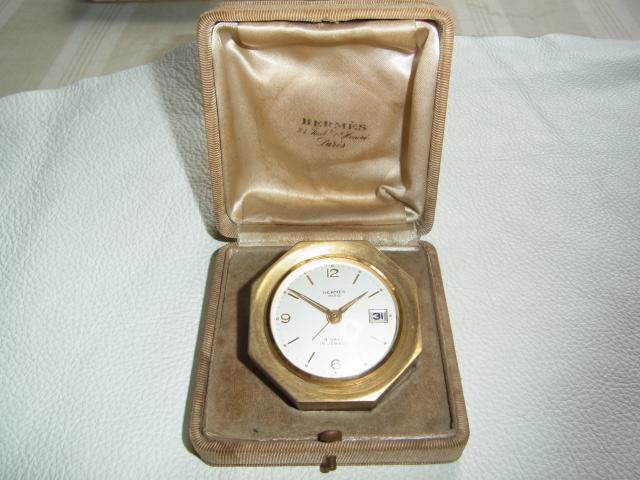 ■1940年代 美品 正確 希少 共箱付!エルメス 八角形 手巻 8DAYS 15石 日付け 真鍮製 置き時計