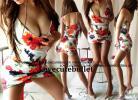 胸元&裾カシュクール花柄sexy美タイトマイクロミニワンピ(白)