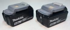 新品 マキタ 18V 純正 バッテリー BL1850B。 5.0Ah(残量表示付) 2個セット。 リチウムイオン電池 90Wh makita Li-ion. インパクト 工具等に