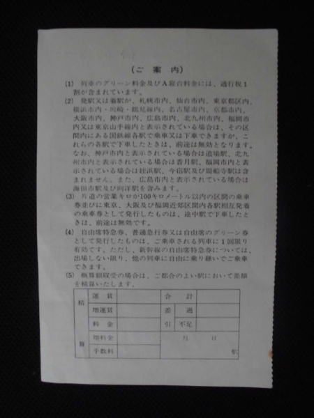 国鉄 直江津車掌区発行 車内補充券_画像2