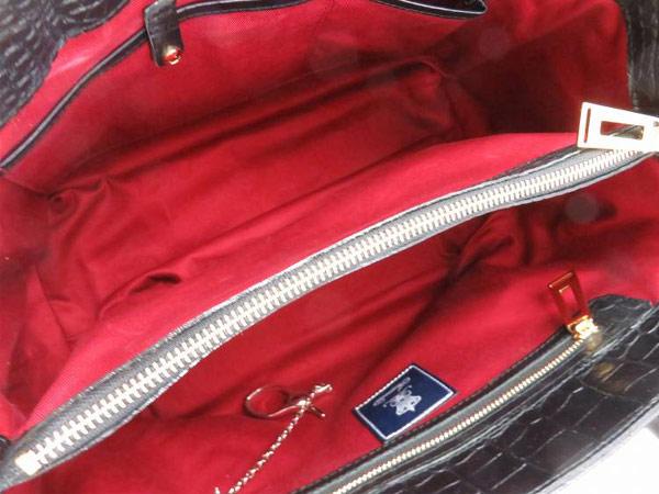 1円 美品 ADMJ アクセソワ 型押し クロコ トートバッグ ブラック AB525_画像3