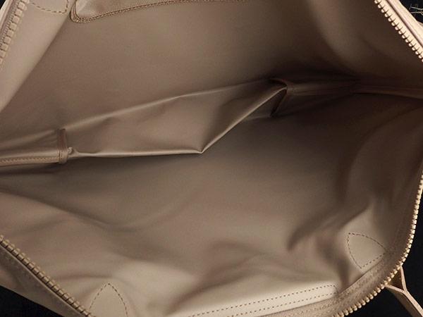 1円 未使用 ロンシャン ナイロン×レザー ファスナー トートバッグ ベージュ BZ885_画像3
