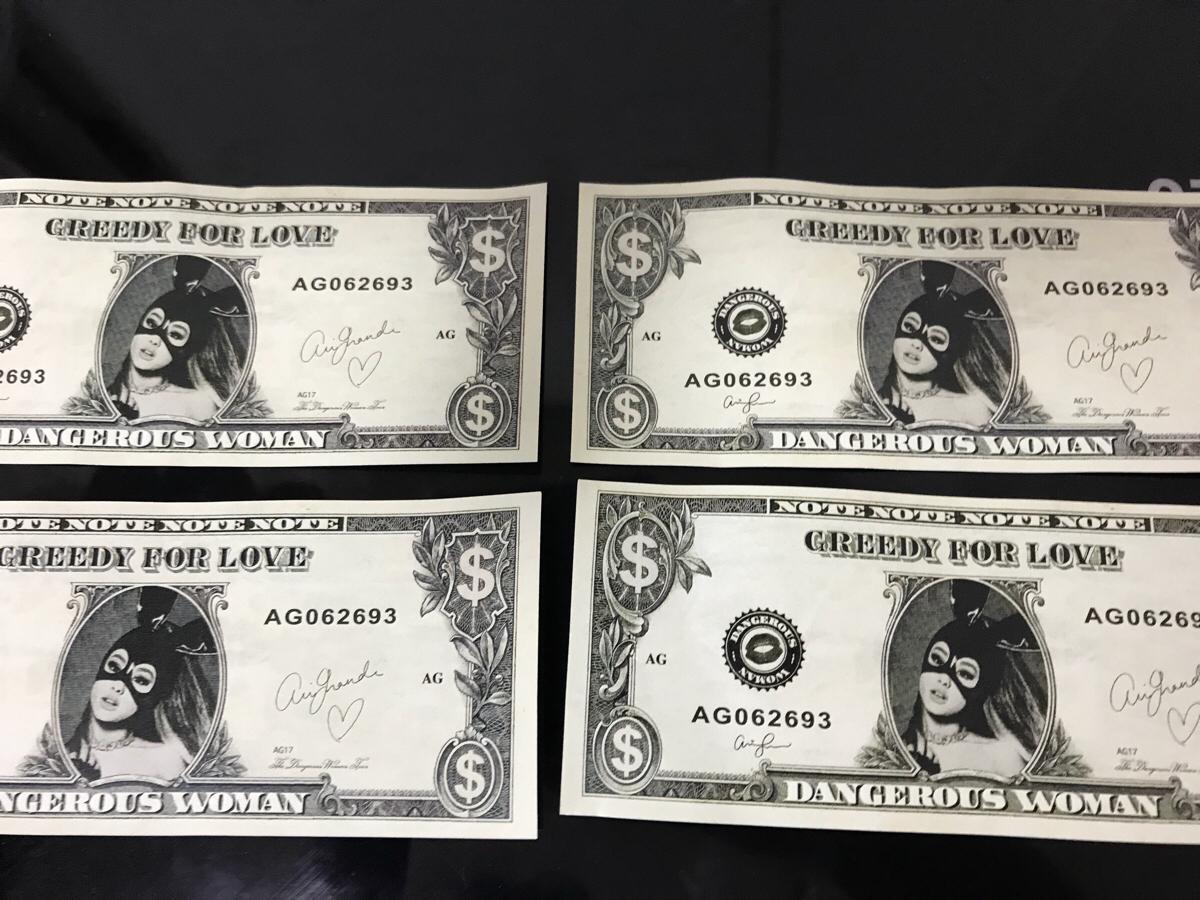 アリアナ・グランデ Ariana Grande Dangerous Woman tour 紙幣型プリント 4枚セット