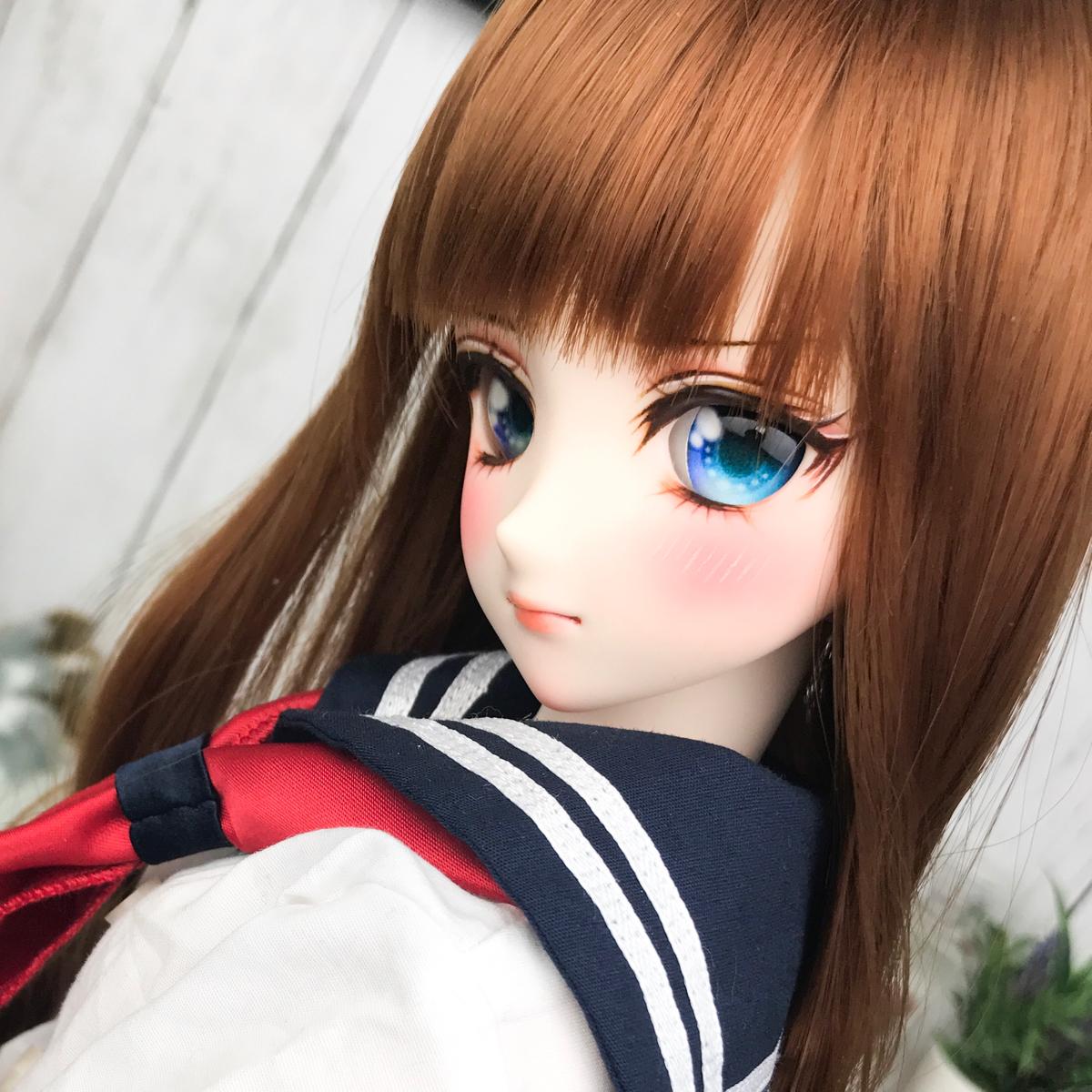 【eMO+h】DDH-09 セミホワイト肌 カスタムヘッド+レジンアイ