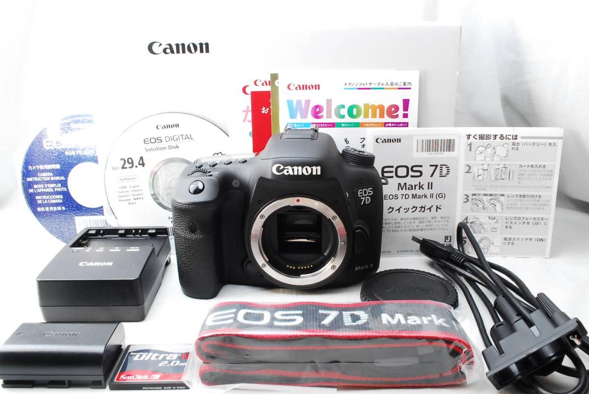 ★新品級★Canon キャノン EOS 7D Mark II ボディ 付属品充実&元箱付き♪ CFカード2GBのおまけ付き♪ 動作絶好調! 即決送料無料♪