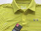 新品◆アンダーアーマー ゴルフ UAコールドブラック ボーダー 半袖ポロシャツ/黄/XL