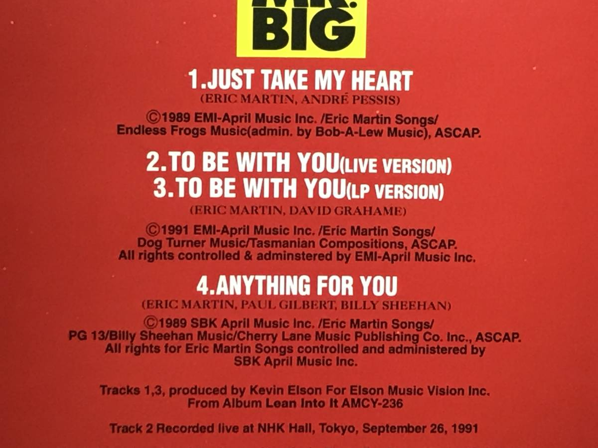 ※  MR.BIG  ※  Just Take My Heart ※ 国内盤シングルCD_画像2