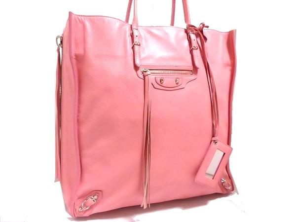 美品 バレンシアガ ザ・シティー ハンドバック ピンク レザー シルバー金具 ミラー付 保存袋 トート ペーパーバッグ ロゴ A4