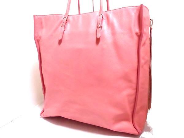 美品 バレンシアガ ザ・シティー ハンドバック ピンク レザー シルバー金具 ミラー付 保存袋 トート ペーパーバッグ ロゴ A4_画像2