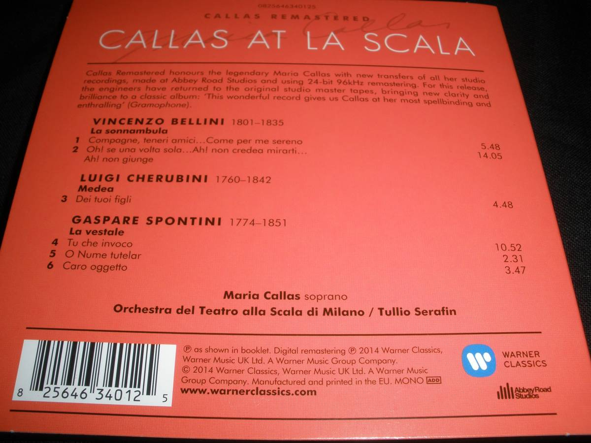 マリア・カラス ベッリーニ 夢遊病の女 ケルビーニ メデア セラフィン スカラ座 リマスター 未使用美品 Bellini Maria Callas At Scala_マスターテープからの最新リマスター盤