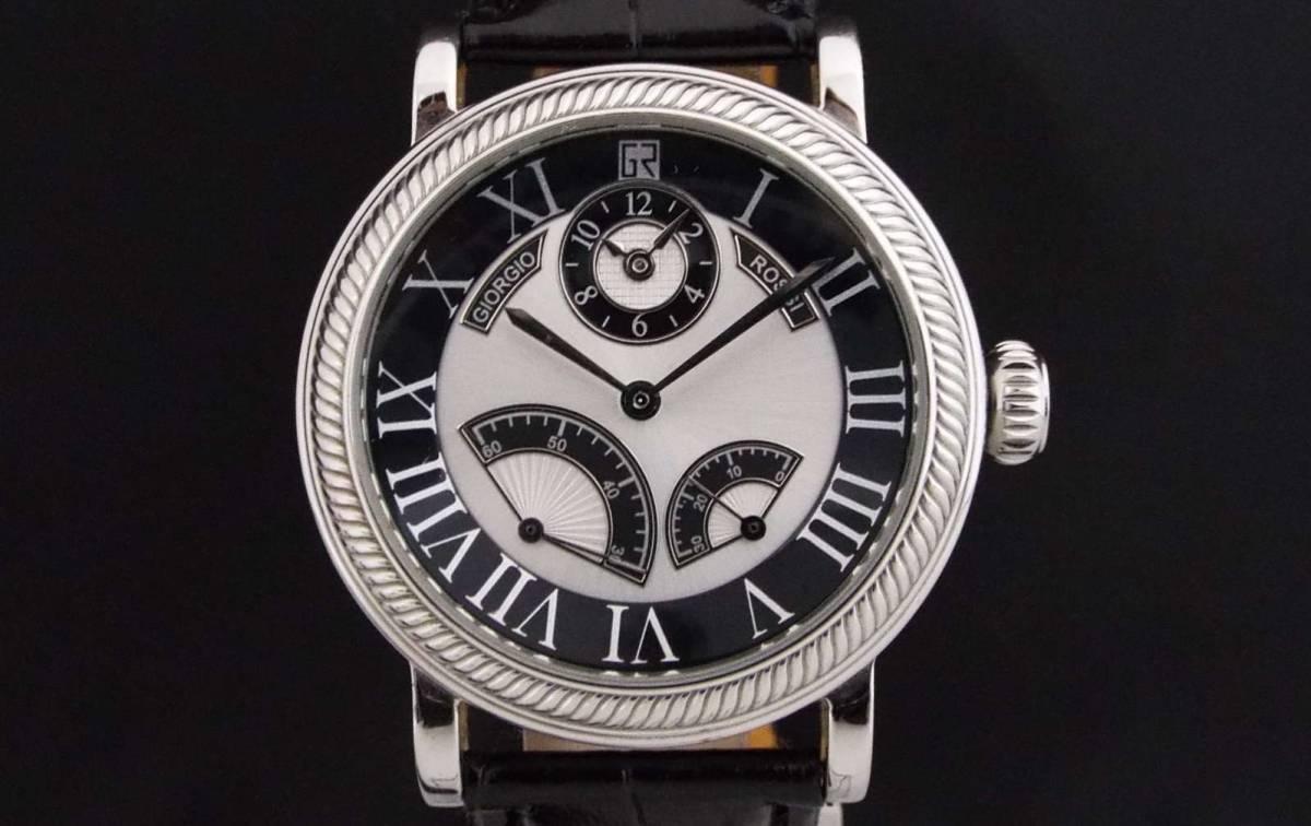 GIORGIO ROSSI ジョルジオロッシ/自動巻き/メンズ腕時計/ツイン時計/裏スケ/インデックス ローマ数字/GR0004/T836
