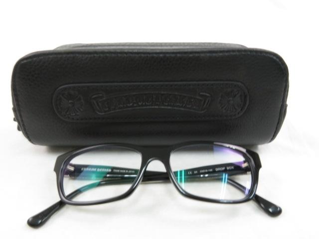 【1円スタート 美品】CHROME HEARTS(クロムハーツ) メガネ 黒フチ 度付き ケース・眼鏡拭き付き 【送料無料】