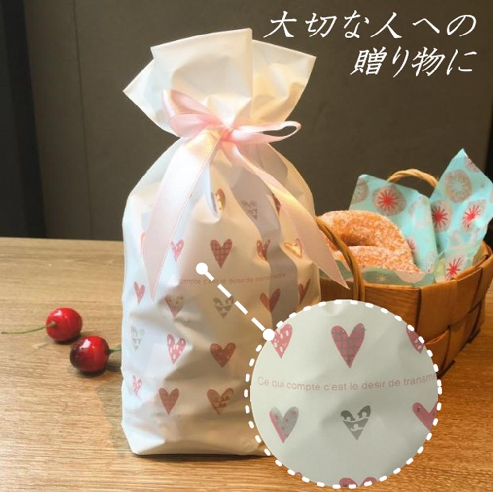 ラッピング袋 リボン マチ付き かわいい プレゼント用 袋 10枚入 ギフト 贈り物 包装 ハート柄 お菓子袋
