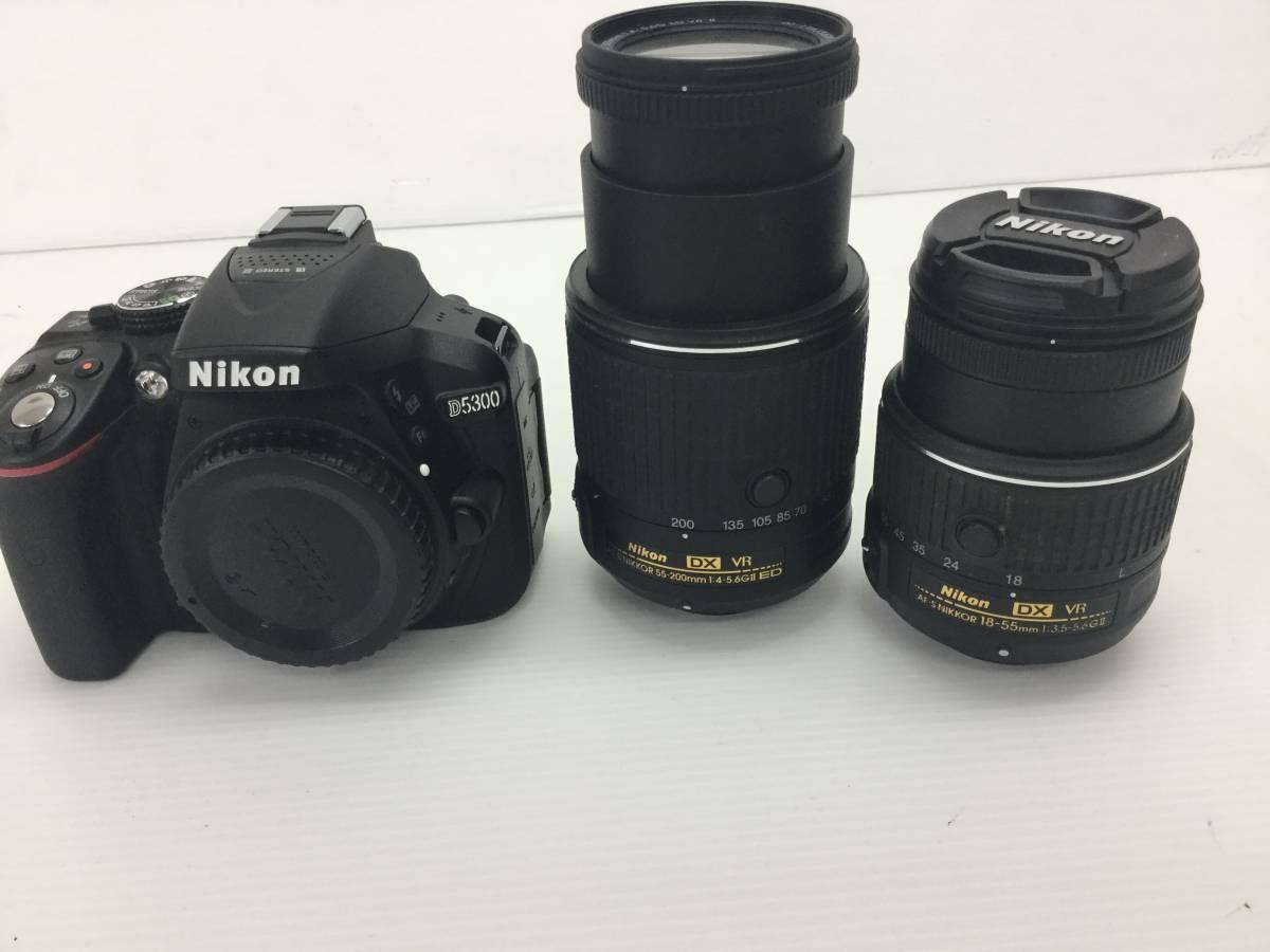 Nikon デジタル一眼レフカメラ D5300 レンズ VR 2本セット 稼働品