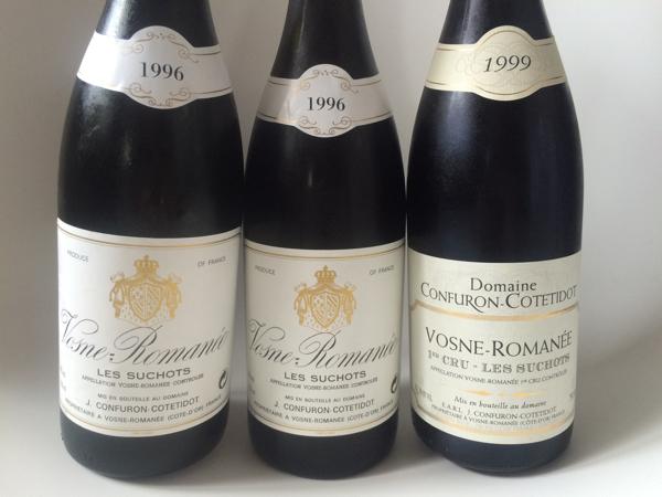 未開栓 新品 セット CONFURON COTETIDOT コンフュロンコトティド vosne romanee 1er ヴォーヌロマネ 1996 1999 赤ワイン ブルゴーニュ drc