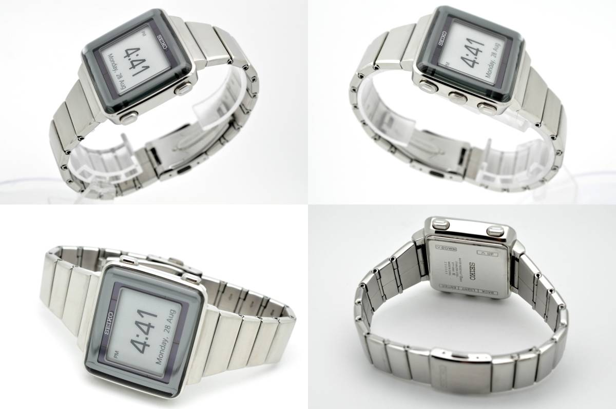セイコー スピリット◆ソーラー電波 デジタル メンズ 腕時計 S771-0AA0 純正ステンレスベルト 電波時計 SEIKO SPIRIT 角型 スクエア_画像3