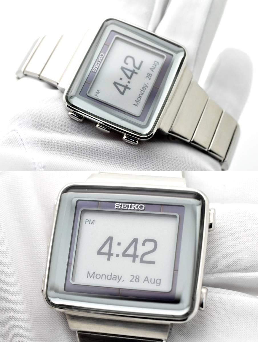 セイコー スピリット◆ソーラー電波 デジタル メンズ 腕時計 S771-0AA0 純正ステンレスベルト 電波時計 SEIKO SPIRIT 角型 スクエア_画像2