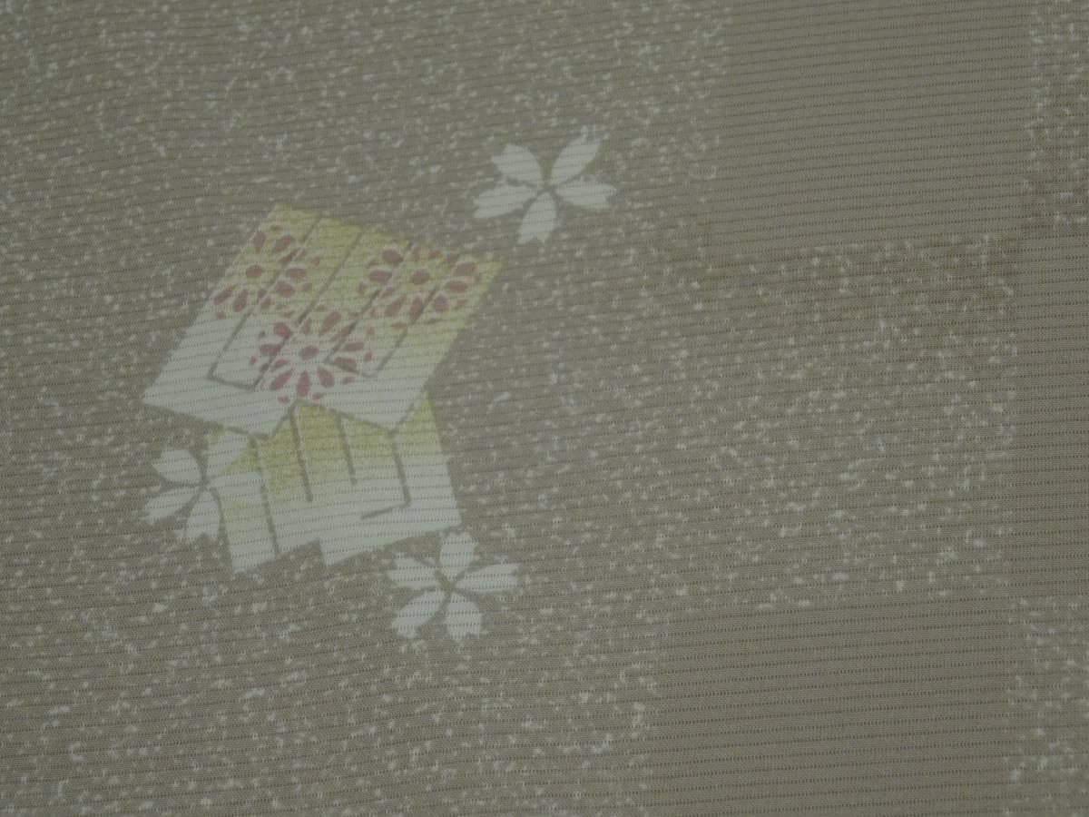 夏物★新品・正絹・反物★福井県・春江縮緬・絽小紋着尺★市松に源氏香桜柄です_画像3