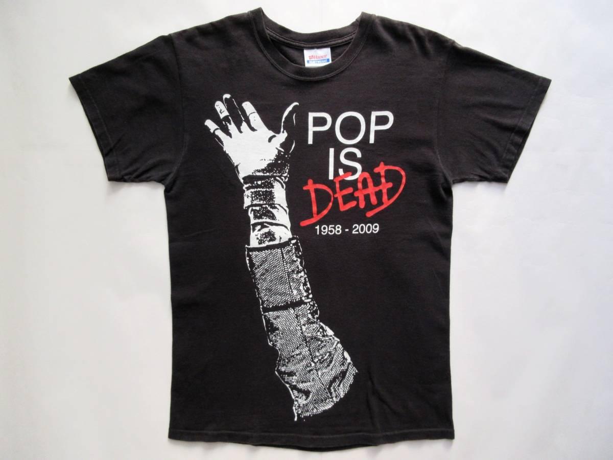 """★"""" POP IS DEAD """" Tシャツ // ブラック黒マイケルジャクソンhanes古着michaelロックsupremeヴィンテージusaアメリカgrunge ライブグッズの画像"""