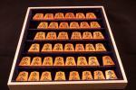 【竹風】錦旗 赤系柾目 銀目 虎斑 糸柾混 彫駒 将棋駒【本黄楊】