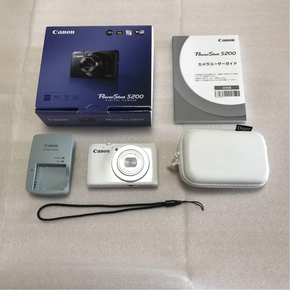 【美品】キャノン Canon PowerShot S200 ホワイト 付属品完備+ソフトケース付