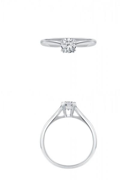 消費税不要! 新品同様: ハリーウィンストン プラチナ Pt950 ダイヤモンド 0.70ct ソリティア リング 指輪 US5.25号_画像2