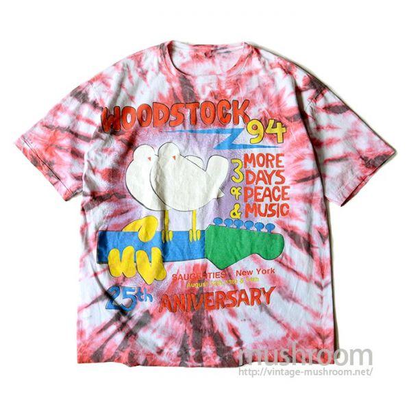 100~♪1990'S WOODSTOCK'94 タイダイ染め Tシャツ 25周年 100%コットン ジャマイカ製 ウッドストック ロック バンド 音楽 ビンテージ