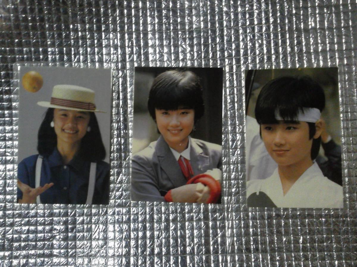 3枚 原田知世 ブロマイドカード サイン 生写真 昭和アイドル 時をかける少女 角川映画