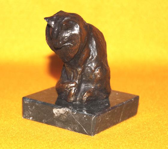 アンゴラの猫 ブロンズ風 大理石 レプリカ  フランス オルセー美術館 スタンラン作  ペーパーウエイト デスクアクセサリ_画像1