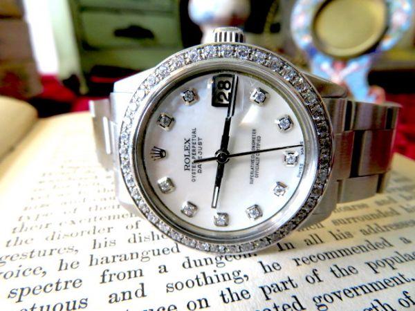 真珠の母の文字盤♪ロレックスのデイトジャスト 数十石のダイヤモンドを装飾 ヴィンテージ時計 ROLEX レディース ウォッチ 6466 MOP