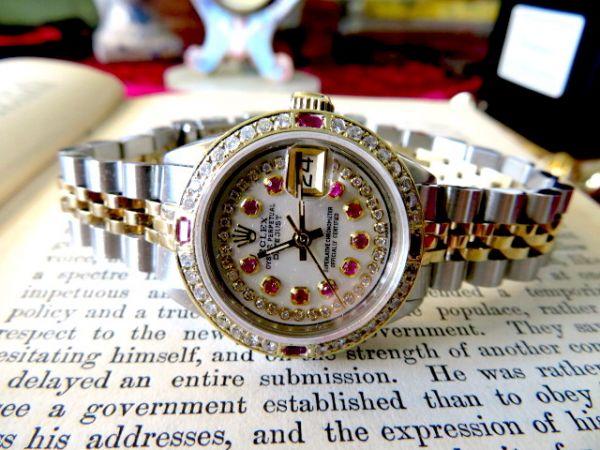 ルビーにダイヤモンド♪14金無垢 ロレックスのデイトジャスト ROLEX ヴィンテージ時計 機械式 自動巻 ウォッチ アンティーク 14K 純正箱