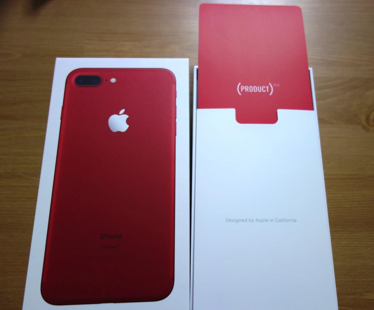 SIMフリー E0817/Apple iPhone7 plus 256GB PRODUCT RED 赤 箱おまけつき