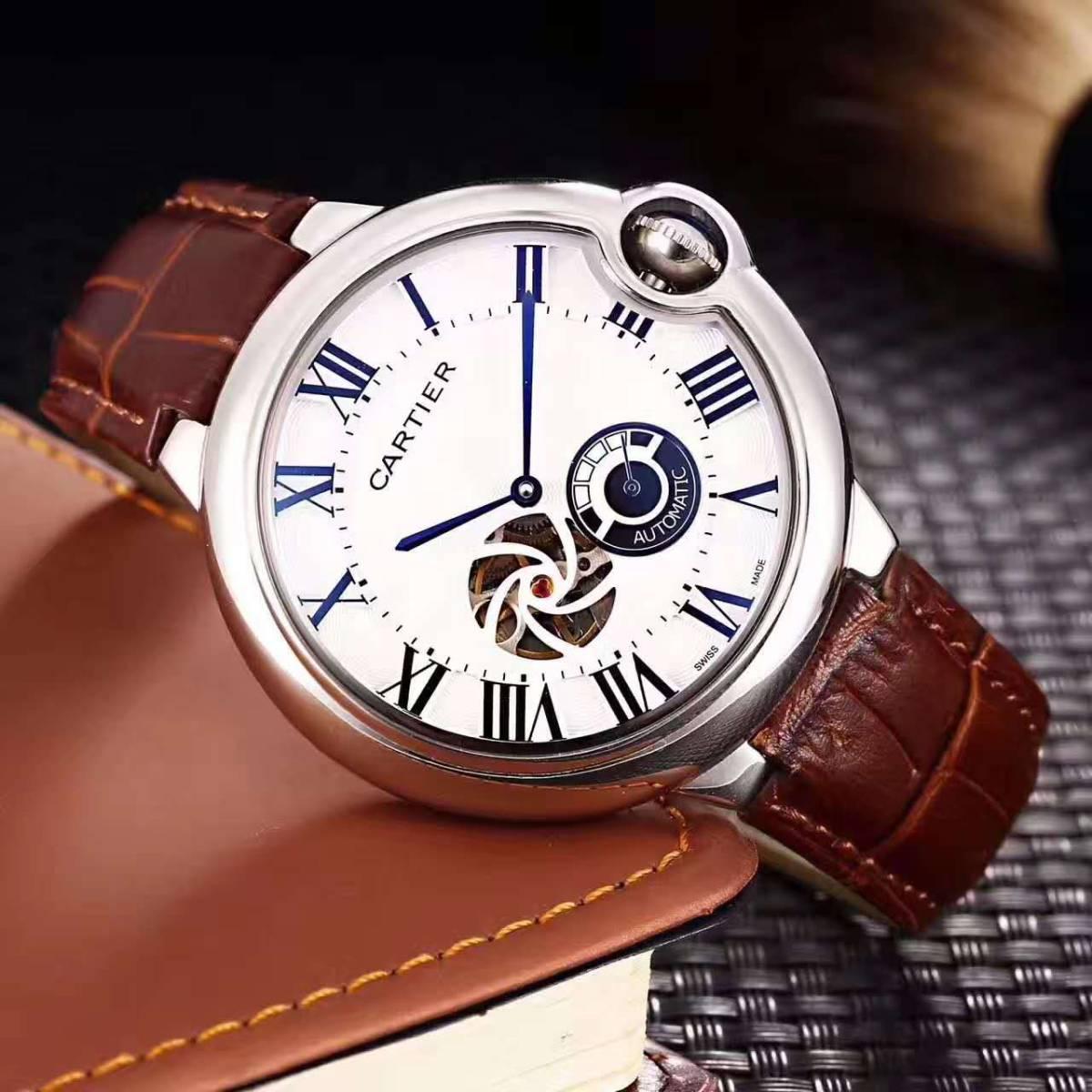 新品 Cartier 自動巻 スケルトン 腕時計 メンズ ウォッチ