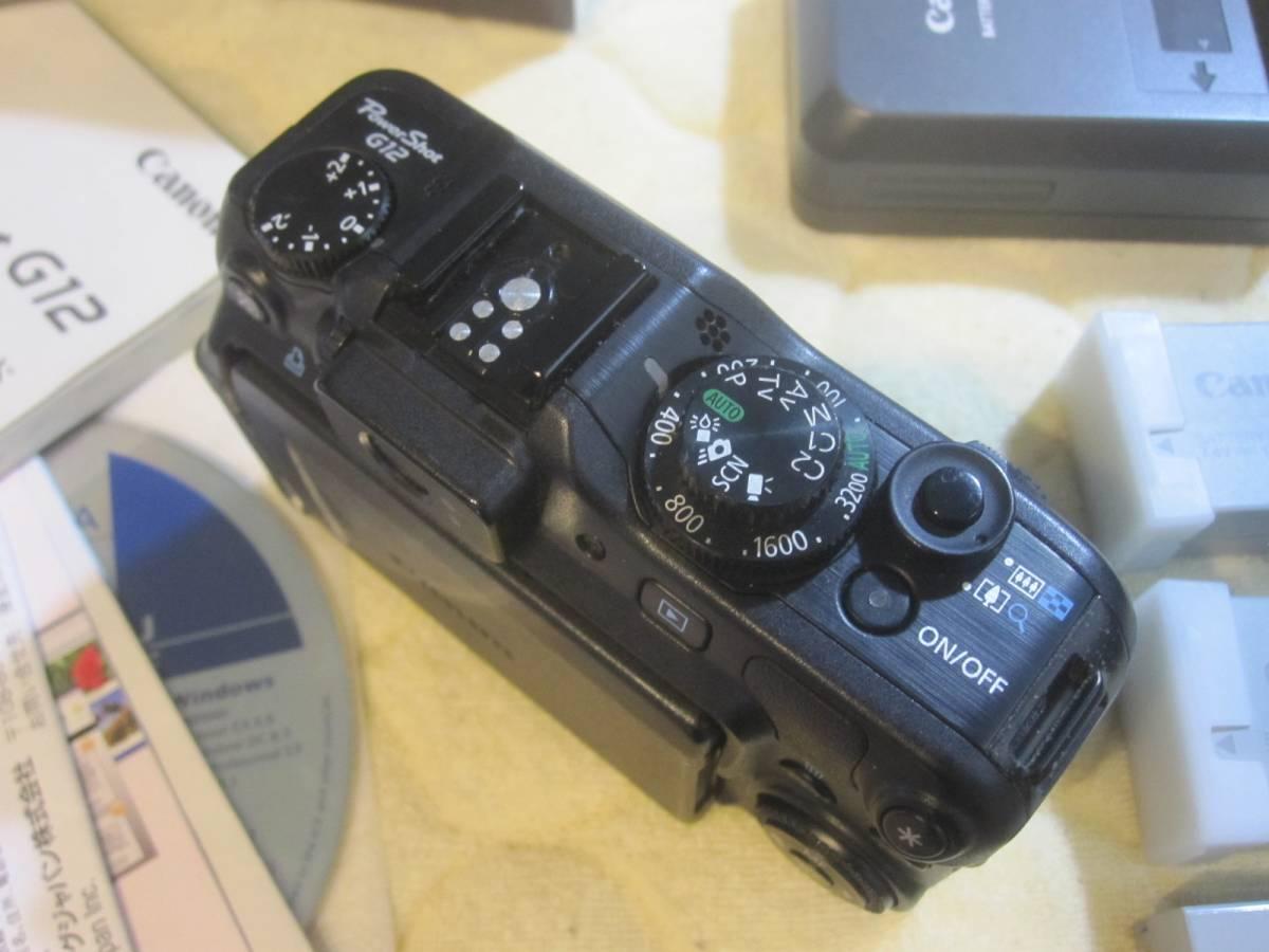 ジャンク品、キャノン、パワーショットG12,バッテリー3個、充電器、使用説明書、元箱付、_画像3