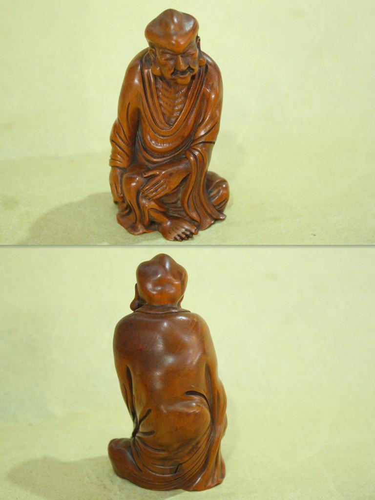 時代唐物 黄楊木 羅漢 手工細密彫 貴重81628