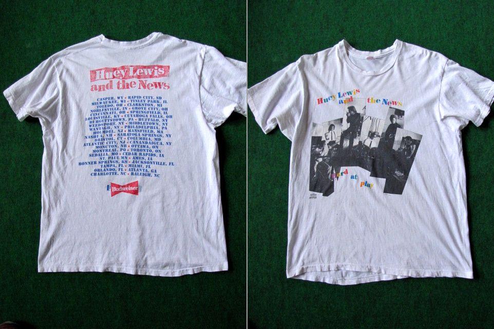 N539*90'S Huey Lewis & The News ヒューイルイス ツアーTシャツ ライブ Tシャツ Hard at play ロックT USA製 XLヘインズ