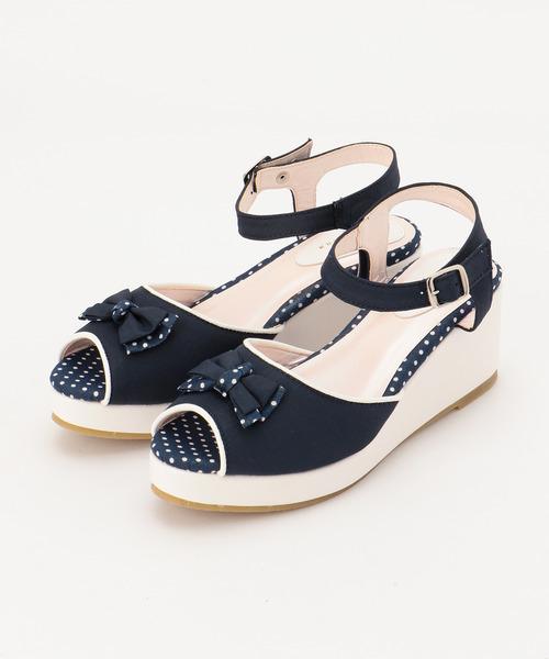 新品 ¥11880 組曲 24cm レザー 厚底 ハイヒール リボン サンダル シューズ 子供用 女の子 フォーマル 紺色 白色 ネイビー 靴 ストラップ_参考画像
