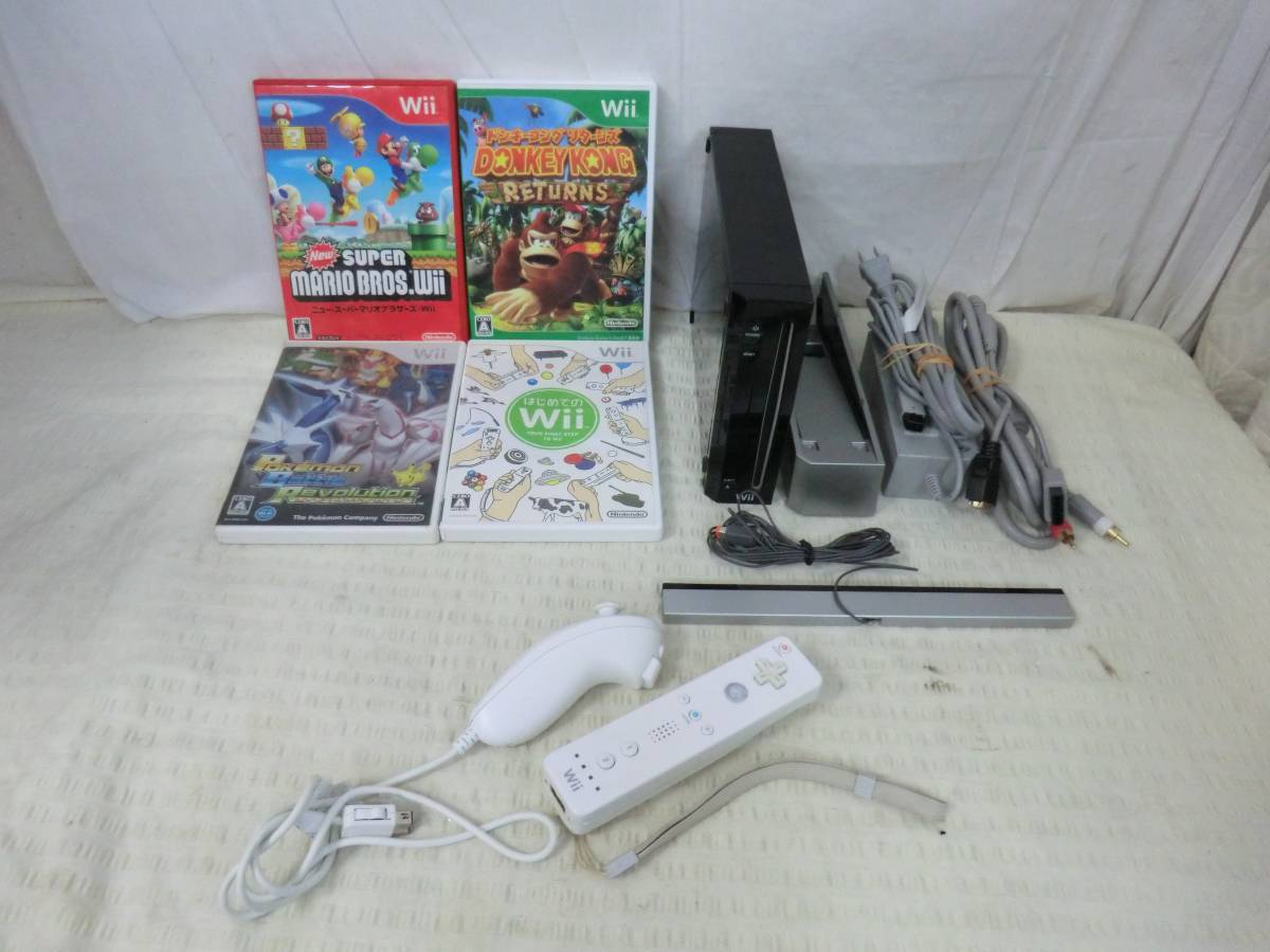 Wii【 本体+ソフト「スーパーマリオブラザーズ」含む4本セット 】 中古