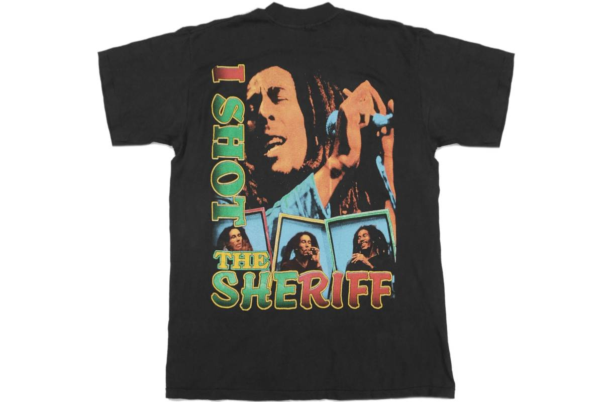 激レア! 90's BOB MARLEY 「I SHOT THE SHERIFF」 Tシャツ 2PAC ICE CUBE FUGEES WARREN G WU-TANG DE LA SOUL RUN-DMC RAPTEE
