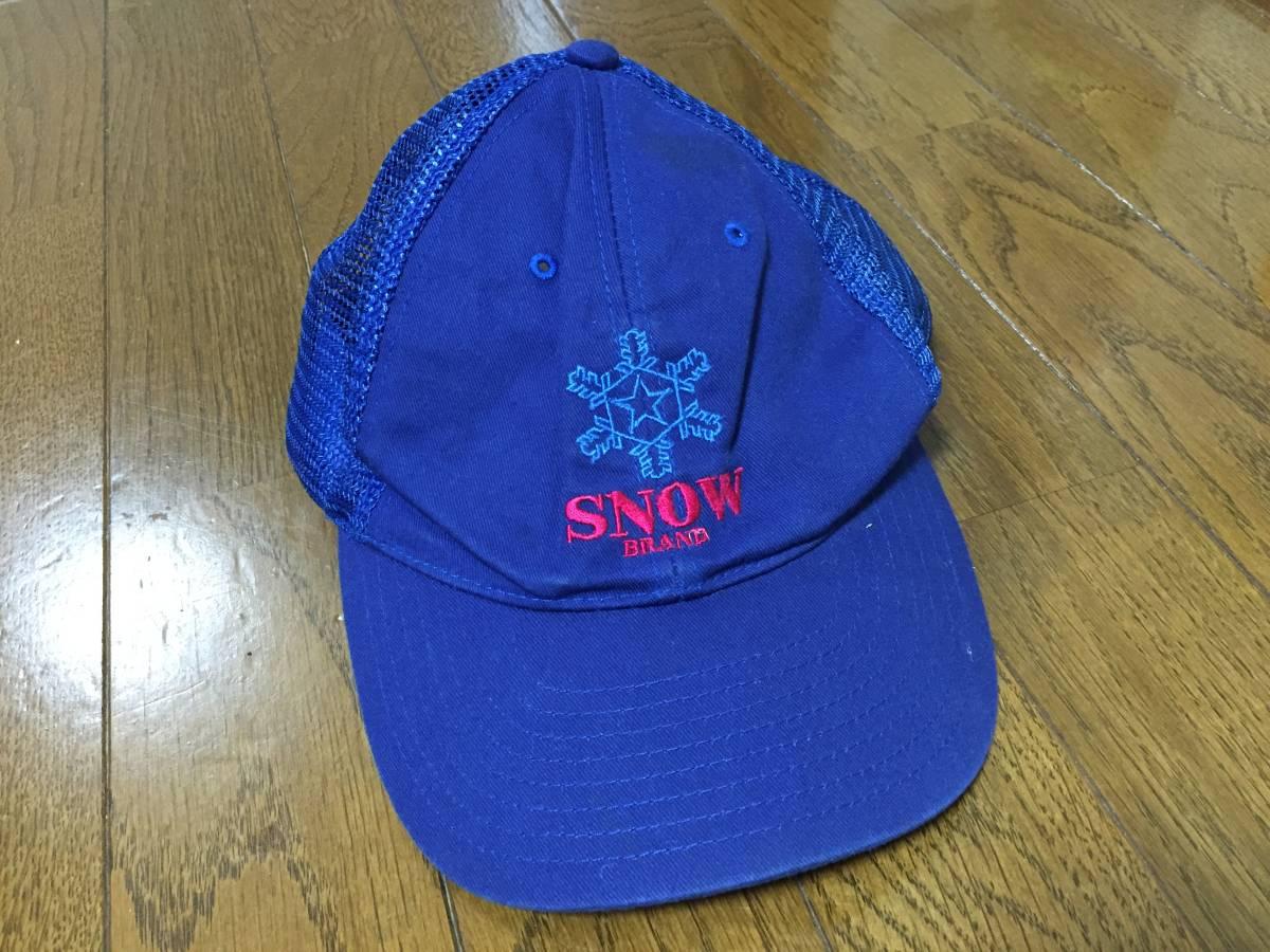 雪印 作業帽子 SNOW 氷結晶マーク 希少 昭和レトロ 雪印乳業 雪印牛乳キャップ_画像2