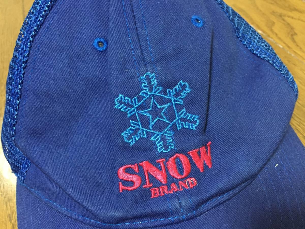 雪印 作業帽子 SNOW 氷結晶マーク 希少 昭和レトロ 雪印乳業 雪印牛乳キャップ