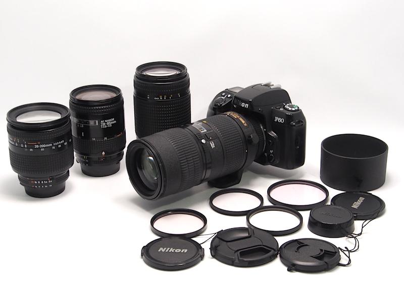 ☆希少 Nikon ED AF MICRO Nikkor 70-180mm F4.5-5.6D、AF 28-200mm, 70-300mm, 28-85mm, Nikon F60まとめ☆