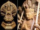 ◆白檀・千手観音菩薩坐仏像・細密彫・高さ29㌢◆